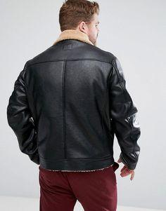 ASOS PLUS Faux Shearling Jacket in Black - Black