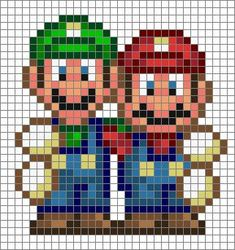 this is a Mario & Luigi Challenge to anyone who wants to take it I put a grid on this one! Mario & Luigi © Nintendo oh, and just a little note.im st. Fuse Bead Patterns, Perler Patterns, Beading Patterns, Cross Stitch Patterns, Jewelry Patterns, Embroidery Patterns, Perler Bead Templates, Pixel Art Templates, Pixel Art Mario