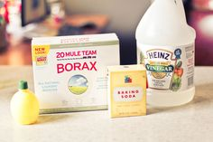 Another recipe for liquid and powder dishwasher mixes  1 cup vinegar, 2TBSP lemon concentrate, 1 cup borax, 1 cup baking soda. that is all. that's for the liquid version. if you want it dry, skip the vinegar and lemon.