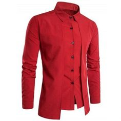 Cheap camisa masculina, Buy Quality mens dress shirts directly from China dress shirt Suppliers: 2018 Solid color Fake two pieces Double breasted Casual mens dress shirts Chemise homme marque luxe Camisas masculina
