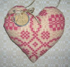 Primitive Vintage Woven Rose & Ecru Coverlet Cupboard HEART VALENTINE BE MINE