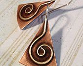Items similar to Spiral Earring / Silver Spiral Earrings / Spiral Earring / Sterling Spiral Earrings / Copper Spiral Earrings / E065 on Etsy