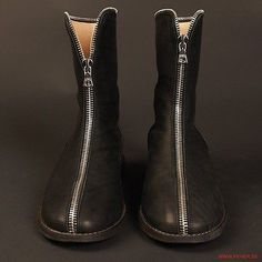Damir DOMA Front Zipper Black Smooth Leather Boots Size 40 EU 7 US | eBay