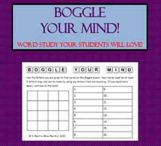 FREE Boggle Your Mind recording sheet for your classroom