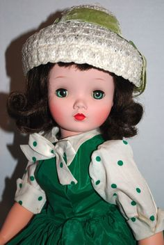 Vintage Madame Alexander Cissy wearing rare green polka dot dress and pretty hat | eBay