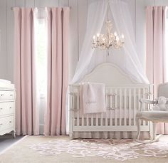 Princess Room pretty in pink nursery Baby Bedroom, Baby Room Decor, Girls Bedroom, Nursery Decor, Themed Nursery, Pink Curtains Nursery, Baby Girl Rooms, Nursery Design, Taupe Nursery
