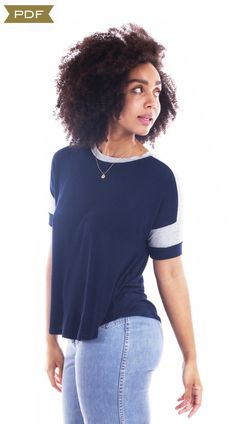 Buy the Merlo Field Tee sewing pattern from Sew House Seven, it's a casual, comfortable and sporty knit tee with a tomboyish vibe. Bib Pattern, Easy Sewing Patterns, Pdf Patterns, Sewing Ideas, High Neck Top, Couture, Knitted Fabric, At Least, T Shirts For Women