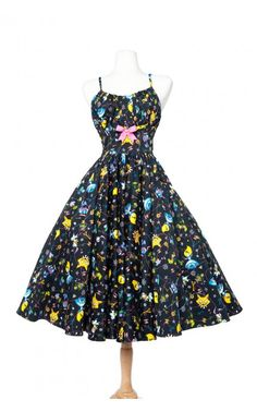Cute Fitted Pin Up Style Full Swing Dress in Alice in Wonderland Print | Pinup Girl Clothing