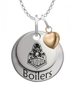 Our beautiful layered charm set featuring your school logo on the top charm, school mascot name on the bottom charm, and accented with the perfect little gold plated heart. We use the finest sterling silver and combine with high tech laser technologies to create this personalized collegiate necklace collection.