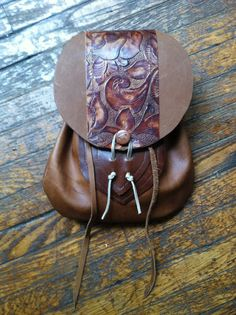 Handmade Brown Leather Floral Renaissance Belt Pouch on Etsy, $48.95
