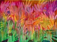 I had a plan for this painting, but when I began tracing the hands of our congregation as they came in I was having so much fun I forgot what it was I intended to paint.  I did not have plans for this painting, but God had plans for this painting!  (Hint, always go with God's plan.)   During the worship I applied washes of color loosely thinking landscape.   God has been speaking to me a about preparing the way, valleys raised and the mountains low, a smooth highway for our Lord.    I took…