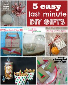 Really cute ideas for gifts and very inexpensive.  5 Easy Last Minute Gifts to DIY!!