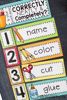 Steps to Completion…Helping Learners Stay on Task Stop repeating your instructions! This Steps to Completion chart is a must-have in every Preschool and Kindergarten classroom. Help your students stay on task and become independent thinkers. Kindergarten Classroom Management, Classroom Procedures, Classroom Behavior, Kindergarten Teachers, Preschool Classroom, Future Classroom, Classroom Activities, Classroom Ideas, Classroom Table Signs