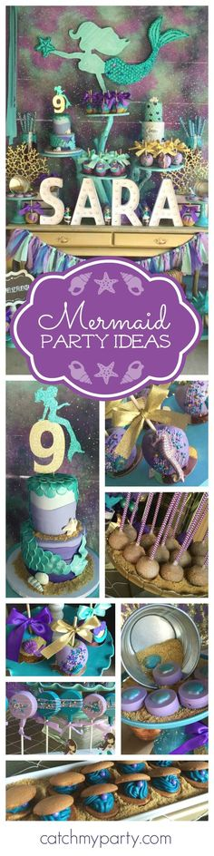 Swim with Mermaids at this fabulous birthday party! The dessert table and backdrop are gorgeous!! See more party ideas and  and add yours to CatchMyParty.com