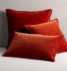 """Italian Velvet Pillow Cover - Burnt Orange 16"""" x 26"""" E8080"""