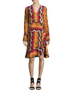 Snake-Print+Silk+V-Neck+Flounce+Dress,+Orange+by+Etro+at+Neiman+Marcus.