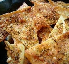 Lasagna Chips: A quick snack that's a great way to use broken or leftover lasagna noodles.
