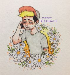 """"""" I wanted to draw happy Chase, and I thought a call from his kids would be a great birthday present to him :)"""" Jacksepticeye Fan Art, Markiplier, Pewdiepie, Epic Art, Amazing Art, Jack And Mark, Happy Birthday Dad, Septiplier, Cartoon Art"""