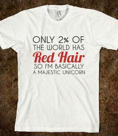 RED HAIR MAJESTIC UNICORN REGULAR T-SHIRT