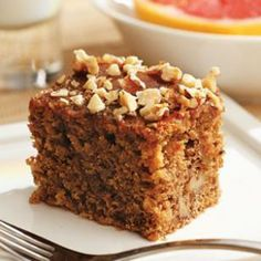 Greek Walnut Spice Cake-- made with yogurt, heart-healthy olive oil and whole-grain barley flour