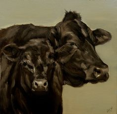 """Black Angus Cow and Calf by denise rich Oil ~ 12"""" x 12"""""""