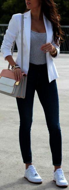 White Blazer Grey Top