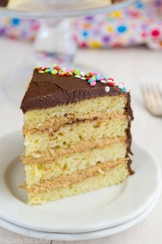 Perfect Yellow Cake with Peanut Filling and Chocolate Frosting