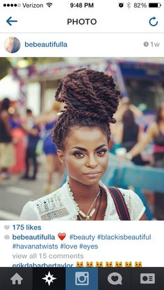 Styling Marley twists in a massive bun is a great way to get them out of the way, when needed, and is also the perfect festival look. Afro Punk, Medium Hair Styles, Curly Hair Styles, Natural Hair Styles, Hairstyles With Bangs, Braided Hairstyles, Protective Hairstyles, Wedding Hairstyles, Protective Styles