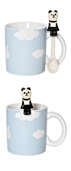 Cute mug with panda spoon