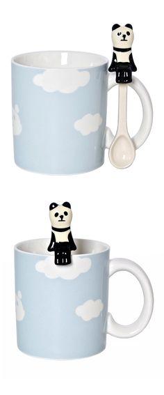 Cute mug with panda spoon
