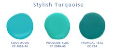 best turquoise paint color | Benjamin Moore swatches: cool aqua CP 2056-40, poolside blue CP 2048 ...