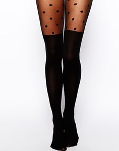 Image 1 of ASOS Polka Dot Over The Knee Tights