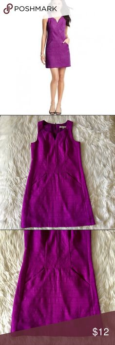 LOFT PURPLE ZIP UP DRESS COCKTAIL DRESS This is such a fun and flirty dress, with a zipper in back. This will turn heads at your next event or evening out. This has pockets with a fun light lining. Wear with black pumps and nude lips and you're ready! Ann Taylor loft dress size 2. Price firm unless bundled with multiple items. LOFT Dresses Mini