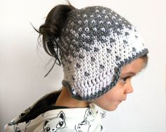 Messy bun hat beanie crochet ponytail hat, knit bun wool runner hat handsewn toque with earflaps womenswear kidswear accessory MADE TO ORDER