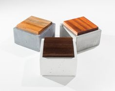 Set Of Three Small Concrete Boxes With Teak/ Walnut/ Mahogany Wood Lid…