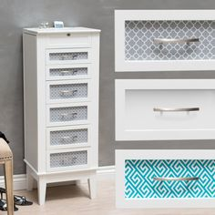 Nana... Belham Living Changeable Drawer Front Locking Jewelry Armoire - White OR Graphic Print - $269.98 @hayneedle