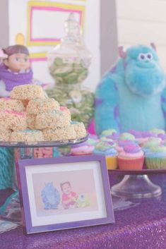 Yummy treats at a Monster's Inc. birthday party! See more party planning ideas at CatchMyParty.com!