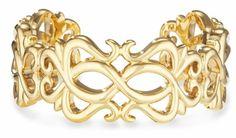 Heart and Swirl 14k Gold Cuff Bangle Bracelet