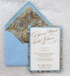 Light Blue and Gold Wedding Invitation by AlexandriaLindo on Etsy, $5.00