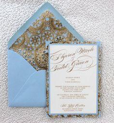 Light Blue and Gold Wedding Invitation