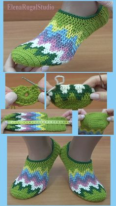 In this video tutorial I will be showing you how to crochet bright colorful slipper socks. It was made with crochet hook and a ball of yarn. The size of sock. Easy Crochet Slippers, Crochet Slipper Pattern, Crochet Shoes, Crochet Clothes, Crochet Mask, Knitted Booties, Slipper Socks, Crochet Designs, Creations