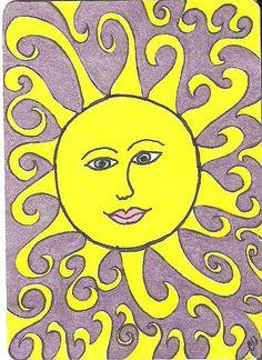 ornamental sun TRADED - Stefanie Scherle - Space Everything Tangled Sun, Sun Worship, Sun Painting, Good Day Sunshine, Look At The Moon, Sun Moon Stars, Sun Designs, Sun Art, Artist Trading Cards