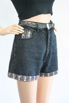9721877011 Vintage High Waisted Jean Shorts / Denim Daisy Dukes / 1990s Grunge Floral  / 90s Paris Blues / Country / South Western / Small