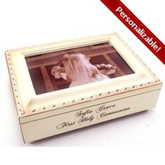 """First Communion Music Box for Girl. Vintage style creamy color with script font engraving and room for a photo on top. Great place to keep First Communion bracelet and rosary! Music plays """"Jesus Loves Me"""". $48.95 #CatholicCompany"""