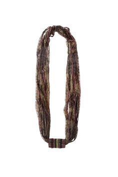 "Artisan ribbon necklace made by Sandra Golbert using shimmery fiber ribbons and seed beads. Beads are black, burgundy, rose pink, and olive green, and ribbon is olive green and rose pink. One continuous piece and no clasp.    Measures Approx. Length 26""; center bead piece 1""x1.5"".   Beaded Ribbon Necklace by Sandra Golbert. Accessories - Jewelry - Necklaces Massachusetts"