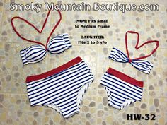 Matching Mom and Daughter High Waist Swimsuit (Multi Color Striped Design) HW32