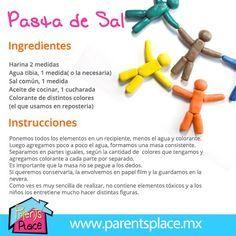 Pasta de Sal, !00% comestible, busca más recetas en www.parentsplace.com.mx Sensory Activities, Infant Activities, Activities For Kids, Projects For Kids, Diy For Kids, Crafts For Kids, Fun Crafts, Diy And Crafts, School Items