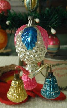 "Early Glass Fantasy Ornament Berry with Annealed ""Arms"" and Bells."