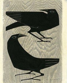 Why the crow? Growing up in California's Central Valley, founder, Rebeca Barron, was always fascinated by crows. Crow Art, Bird Art, Japanese Prints, Japanese Art, Japanese Woodcut, Linocut Prints, Art Prints, Block Prints, Desenho Pop Art