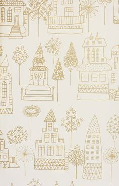Kaspar Wallpaper Children's wallpaper of dream castles and houses in metallic gold on off white background.
